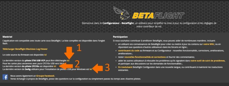 Télécharger pilotes Betaflight