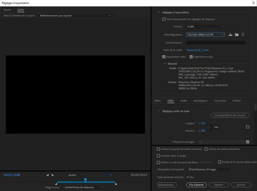 exportation vidéo sur adobe premier pro