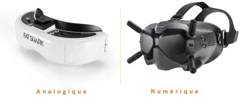 lunette fpv analogique et masque fpv numérique