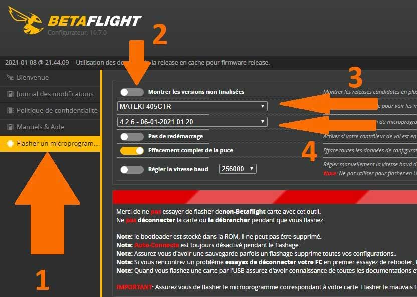 Flasher un microprogramme contrôleur de vol
