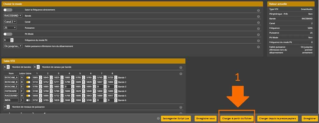 onglet emetteur video VTX charger le fiichier sur betaflight