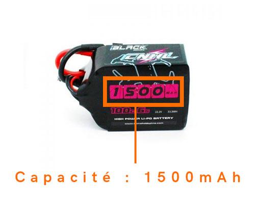 capacité lipo drone fpv cnhl 1500mah 6s 100c