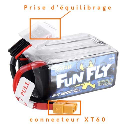 connecteur xt60 et prise d'équilibrage d'une lipo de drone fpv