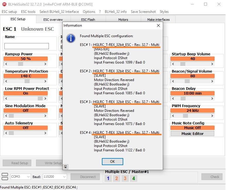 Configuration ESC BLHeliSuite32 - flash esc drone fpv