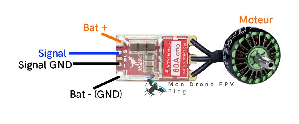 branchement esc individuel moteur drone fpv